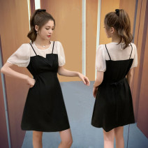 Dress Summer 2021 S,M,L,XL Short skirt Fake two pieces Short sleeve commute Crew neck High waist Solid color Socket A-line skirt puff sleeve Others Type A Other / other Korean version 30% and below Chiffon