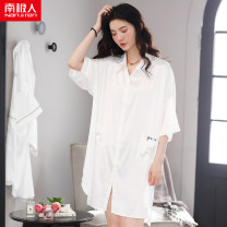 Nightdress NGGGN One size fits all Simplicity three quarter sleeve Leisure home Middle-skirt summer Solid color youth Shirt collar Iced silk printing More than 95% Seldingham South sd50209 English
