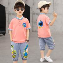 suit Other / other White, green, pink 110cm,120cm,130cm,140cm,150cm,160cm male summer Korean version Short sleeve + pants 2 pieces Thin money There are models in the real shooting Single breasted nothing Cartoon characters cotton Class B Chinese Mainland Shanghai