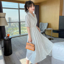 Dress Spring 2021 white S M L XL Mid length dress singleton  Short sleeve commute V-neck High waist Solid color Socket A-line skirt routine Others 25-29 years old YKACP / Lovely clothes Korean version 21-8626 More than 95% other Other 100% Pure e-commerce (online only)
