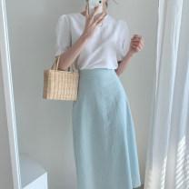 shirt White shirt, yellow shirt, blue skirt, white skirt S, M Autumn 2020 polyester fiber 31% (inclusive) - 50% (inclusive) Short sleeve commute Regular Crew neck 18-24 years old Other / other Korean version