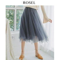 skirt Spring of 2019 S M L XL blue Mid length dress fresh Natural waist A-line skirt Solid color 25-29 years old R183733Q More than 95% ROSEL polyester fiber Polyester 100% Pure e-commerce (online only)