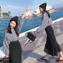 Dress Autumn of 2018 Suit color S,M,L,XL Mid length dress Two piece set Long sleeves commute Polo collar High waist lattice Single breasted Ruffle Skirt puff sleeve Others 18-24 years old Type A See description Korean version fold XWV8753 More than 95% other polyester fiber