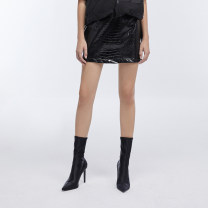 skirt Summer 2020 S M black Short skirt Natural waist Solid color Type A 31% (inclusive) - 50% (inclusive) showroom plus cotton
