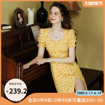 Dress Autumn 2020 yellow XS S M L Mid length dress singleton  Short sleeve commute square neck Broken flowers One pace skirt puff sleeve Others 25-29 years old Type A dodc Auricularia zipper printing G1-H799 More than 95% other polyester fiber Polyester 100%