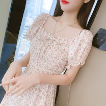 Dress Summer 2021 Little yellow flower, little red flower S,M,L,XL Mid length dress singleton  Short sleeve commute One word collar High waist Decor Socket other Petal sleeve Others 25-29 years old Type A Simplicity 71% (inclusive) - 80% (inclusive) Chiffon cotton