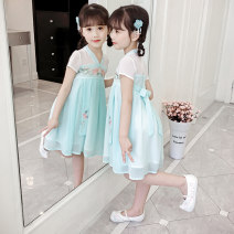 Dress Sky blue pink + white embroidered shoes pink + Pink Embroidered Shoes sky blue + white embroidered shoes sky blue + blue embroidered shoes female Cipifrog / Chibi frog Other 100% summer Chinese style Short sleeve Solid color Chiffon other Class B Summer 2021 Chinese Mainland Zhejiang Province