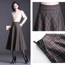skirt Winter 2020 27/M,28/L,29/XL,30/2XL,31/3XL,32/4XL lattice Mid length dress commute High waist A-line skirt lattice Type A 30-34 years old #2011172 More than 95% Wool polyester fiber Pocket, zipper Korean version