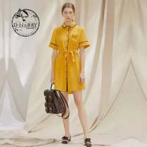 Dress Summer 2021 yellow S,M,L Two piece set Long sleeves Sweet V-neck middle-waisted Solid color A button routine straps 25-29 years old 3D 91% (inclusive) - 95% (inclusive)
