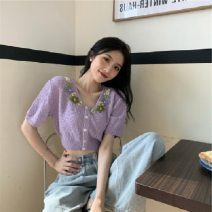 Wool knitwear Spring 2021 Average size Purple, beiapricot Short sleeve singleton  Cardigan nylon have cash less than that is registered in the accounts Sweet Self cultivation V-neck routine Solid color 18-24 years old Splicing