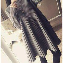 Women's large Winter 2020, autumn 2020, spring 2021 Black, gray, red XS = 0, s = 1, M = 2, large L = 3, 2XL = 5, 3XL Dress singleton  commute Solid color Korean version Crew neck cotton routine 81% (inclusive) - 90% (inclusive) Middle-skirt