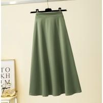 skirt Spring 2021 S,M,L,XL,2XL Black, yellow, light blue Mid length dress Versatile High waist Umbrella skirt Solid color Type A More than 95% other