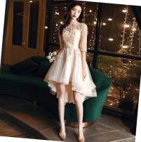 Dress / evening wear Wedding, adulthood, party, company annual meeting, performance, routine, appointment Medium and long term Self cultivation Fox  elbow sleeve Summer 2020 middle-waisted fashion U-neck QHXNLF617 zipper routine Solid color 18-25 years old flower 96% and above other