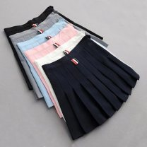 skirt Spring 2020 XS,S,M,L,XL White, gray, black, pink, sky blue, navy Short skirt commute High waist Pleated skirt Solid color Type A 18-24 years old 91% (inclusive) - 95% (inclusive) brocade cotton Stick cloth, three-dimensional decoration Korean version