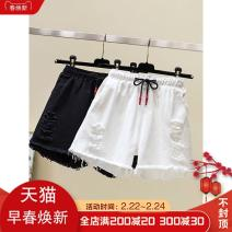 Jeans Summer 2020 White, black XL,2XL,3XL,4XL,5XL shorts High waist Straight pants 25-29 years old other