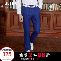 Western-style trousers J.D.V Fashion City blue 165/68A 170/72A 175/76A 180/80A 180/84A 185/88A SPF7019 trousers Wool 74.9% polyester 15.2% Silk 9.9% Slim fit spring go to work youth Exquisite Korean style Spring 2017 houndstooth  Hanging dyeing Same model in shopping mall (sold online and offline)