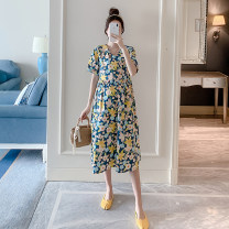 Dress Other / other Decor M,L,XL,XXL Korean version Short sleeve Medium length summer Crew neck Decor Pure cotton (95% and above) XC15523