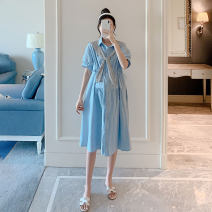 Dress Other / other White, blue Average size Korean version Short sleeve Medium length summer Crew neck Decor Pure cotton (95% and above)