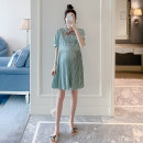 Dress Other / other green M,L,XL,XXL Korean version Short sleeve Medium length summer Crew neck Decor Pure cotton (95% and above) ZF93164