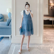 Dress Other / other Blue, black M,L,XL Korean version Short sleeve Medium length summer Lapel other Pure cotton (95% and above) ZF93191
