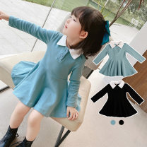 Dress Sky blue black female Yyxxbaby 80cm 90cm 100cm 110cm 120cm 130cm Other 100% spring and autumn motion Long sleeves Solid color cotton A-line skirt YYXX0905467 Class A Autumn 2020 12 months 6 months 9 months 18 months 2 years 3 years 4 years 5 years 6 years 7 years old Chinese Mainland