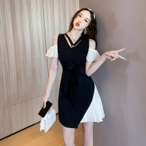 Dress Summer 2021 black S M L XL XXL Short skirt Fake two pieces Short sleeve commute V-neck High waist Solid color zipper A-line skirt Petal sleeve Others 25-29 years old Type A Ryukura Korean version Stitching strap zipper F55038 More than 95% other other Other 100% Pure e-commerce (online only)