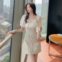 Dress Summer 2021 Picture color S M L XL Short skirt singleton  Long sleeves commute square neck High waist Solid color zipper A-line skirt routine 25-29 years old Type A Ryukura Korean version Bow and zipper lace F78379 More than 95% other Other 100% Pure e-commerce (online only)