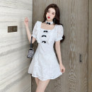 Dress Summer 2021 white S M L Short skirt singleton  Short sleeve commute square neck High waist Solid color zipper A-line skirt puff sleeve 25-29 years old Type A Ryukura Korean version Bow and ruffle with zipper neck F82909 More than 95% other Other 100% Pure e-commerce (online only)