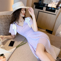 Dress Summer 2021 Taro purple S M L XL XXL Short skirt Two piece set Short sleeve commute V-neck High waist Solid color zipper Irregular skirt Lotus leaf sleeve Others 25-29 years old Type A Ryukura Korean version Bow zipper F50545 More than 95% other other Other 100% Pure e-commerce (online only)
