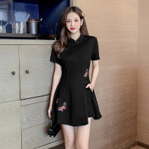 Dress Summer 2021 black S M L XL 2XL Short skirt Two piece set Short sleeve commute stand collar High waist Solid color zipper A-line skirt routine 25-29 years old Type A Ryukura Retro Embroidery stitching three-dimensional decorative zipper split F55208 More than 95% other Other 100%