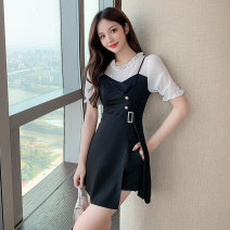 Dress Spring 2021 black S M L XL 2XL Short skirt singleton  Short sleeve commute Crew neck High waist Solid color Socket A-line skirt routine camisole 25-29 years old Type A Ryukura Splicing More than 95% other Other 100% Pure e-commerce (online only)