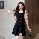 Dress Summer 2021 black S M L XL XXL Short skirt Two piece set Short sleeve commute square neck High waist Solid color zipper A-line skirt puff sleeve 25-29 years old Ryukura Korean version Bow stitched button mesh zipper F6610 More than 95% other Other 100% Pure e-commerce (online only)