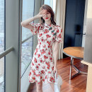 Dress Summer 2021 Retro rose S M L XL Short skirt singleton  Short sleeve commute stand collar middle-waisted Decor zipper Ruffle Skirt bishop sleeve Others 25-29 years old Ryukura Retro Pleated zipper print F8528 More than 95% other other Other 100% Pure e-commerce (online only)