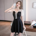 Dress Summer 2021 black S M L XL 2XL Short skirt singleton  Short sleeve commute V-neck middle-waisted Solid color zipper A-line skirt routine Others 25-29 years old Type A Ryukura Korean version Stitched button zipper lace F09722 More than 95% other Other 100% Pure e-commerce (online only)