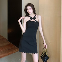 Dress Summer 2021 black S M L XL Short skirt singleton  Sleeveless commute One word collar High waist Solid color zipper A-line skirt routine camisole 18-24 years old Type A Ryukura Korean version Butterfly dew back stitched zipper F99198 More than 95% other Other 100% Pure e-commerce (online only)