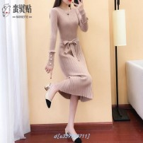 Dress Winter 2020 Mid length dress singleton  Long sleeves bow 30% and below