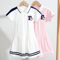 Dress Pink white female An baowa 110cm 120cm 130cm 140cm 150cm 160cm Cotton 90% other 10% summer college Solid color cotton A-line skirt abw2580 Class B Summer 2021 Four, five, six, seven, eight, ten, eleven, twelve, thirteen Chinese Mainland Guangdong Province Dongguan City