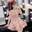Dress Yellow, red, pink female Bad little treasure 110cm,120cm,130cm,140cm,150cm,160cm Cotton 100% summer princess Skirt / vest lattice other A-line skirt 2, 3, 4, 5, 6, 7, 8, 9, 10, 11, 12 years old