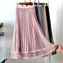 skirt Autumn of 2019 Average size longuette commute High waist Pleated skirt Solid color Type A 18-24 years old More than 95% other polyester fiber Korean version 61G / m ^ 2 (including) - 80g / m ^ 2 (including)