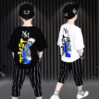 suit Dr. cradle Color matching yes red figure black figure white A-line black A-line male summer leisure time Short sleeve + pants 2 pieces Thin money There are models in the real shooting Socket nothing other cotton children Expression of love Class B Summer of 2019