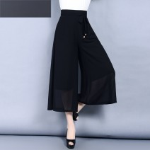 Casual pants Black, yellow, white, blue, decor, Navy, orange 27/S,28/M,29/L,30/XL,31/2XL,32/3XL,26/XS,33/4XL Spring 2017 Ninth pants Wide leg pants High waist commute Thin money 25-29 years old 96% and above YS16B74 Other / other other Korean version pocket Asymmetry