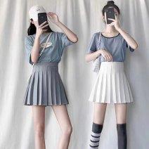 skirt Summer 2020 XS,S,M,L,XL,XXL,XXXL Short skirt fresh High waist Pleated skirt Solid color G22549 71% (inclusive) - 80% (inclusive) other Other / other other