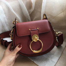 Bag The single shoulder bag cowhide Saddle bag Other / other brand new European and American fashion in leisure time hard Magnetic buckle no Single root One shoulder cross carry Yes youth Saddle shape Clasp Handling handle Inner patch pocket cowhide