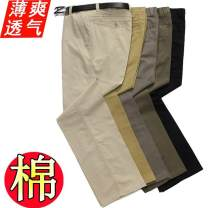 Casual pants Others Business gentleman Black Navy (summer thin), khaki (summer thin), grey (summer thin), army green (summer thin), beige (summer thin, Dark Khaki (summer thin) trousers go to work easy No bullet summer middle age Business Casual 2017 High waist Straight cylinder No iron treatment