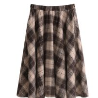 skirt Winter 2020 S,M,L,XL Khaki-4kb Mid length dress Retro High waist A-line skirt lattice Type A 18-24 years old 7A3266070 More than 95% Wool Other / other other pocket