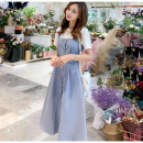 Dress Winter 2016 Blue, yellow, green Middle-skirt Fake two pieces Short sleeve Crew neck Princess Dress camisole Other / other Splicing