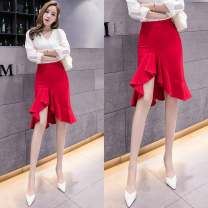 skirt Spring 2020 S,M,L,XL,2XL Red, blue, black Mid length dress commute High waist skirt Solid color Type A 25-29 years old 51% (inclusive) - 70% (inclusive) brocade cotton Korean version