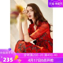 Dress Summer 2020 gules Add ml collection to shopping cart, order and give gifts longuette singleton  Short sleeve commute V-neck High waist Decor zipper Irregular skirt routine Others 40-49 years old Type X Ba Zhicai Ol style Q328 More than 95% Chiffon polyester fiber Pure e-commerce (online only)