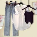 Fashion suit Summer 2021 S M L XL White shirt black suspender white suspender jeans + white shirt jeans + white shirt jeans + black suspender jeans + white shirt + white suspender jeans 18-25 years old O. U.n.i/europe 21-3-10-5 71% (inclusive) - 80% (inclusive) Other 100%