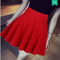skirt Summer 2020 XS,S,M,L,XL,2XL,3XL,4XL White, black, red, Burgundy, red camouflage, red camouflage Short skirt Versatile High waist Umbrella skirt Solid color Type A 35-39 years old 30% and below other Cellulose acetate Open line decoration, zipper
